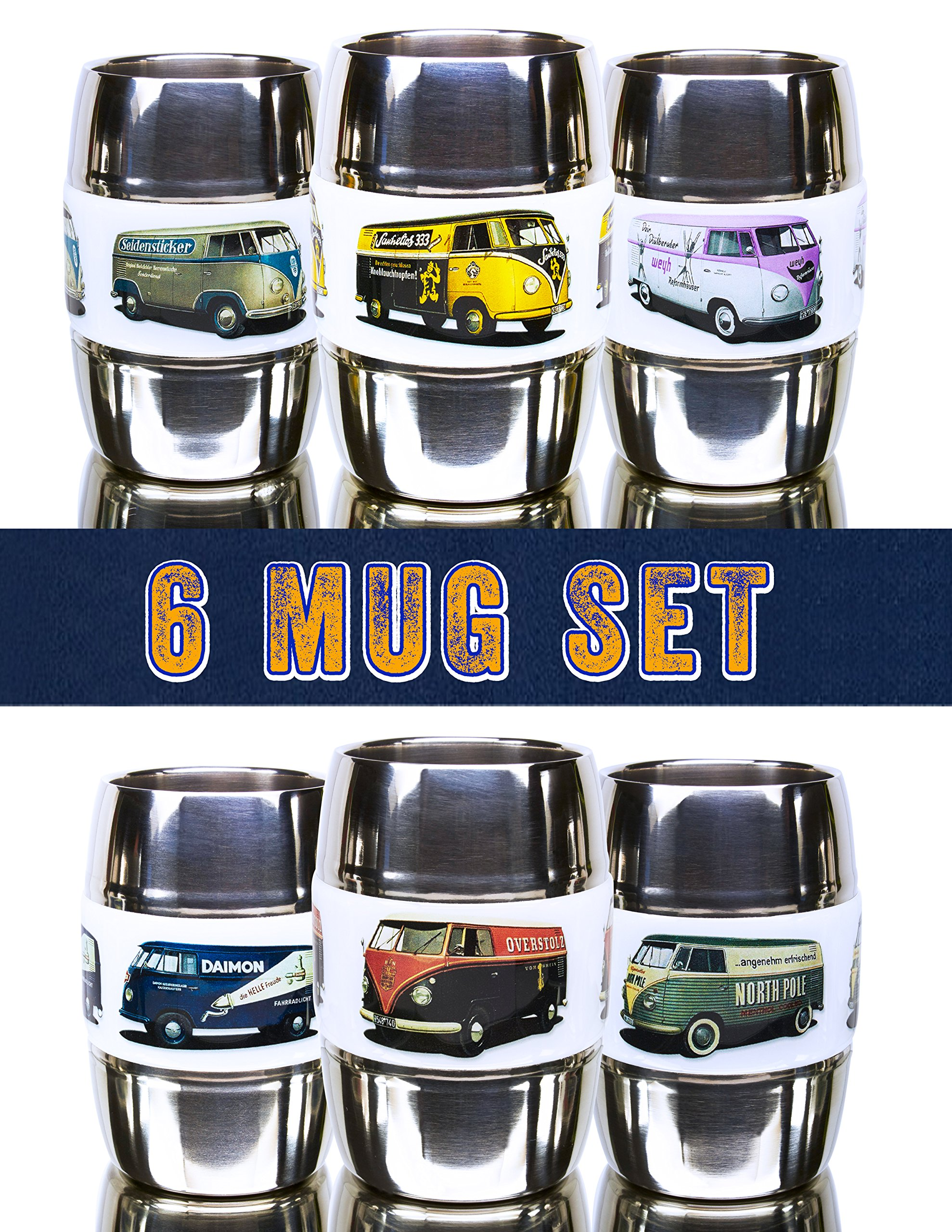 Set of 6- 12 Ounce Camping/Travel Mug. Grip Graphic- Vintage VW Buses. Double Wall Premium Stainless. No Sweat. Keeps Drinks Ice-Cold, Coffee Pipping-Hot. Fits Standard Car Holders. Easy to Clean.