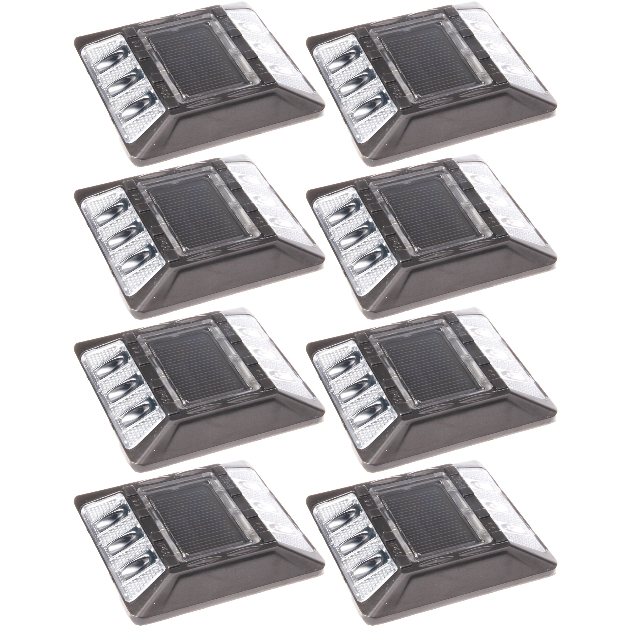 (8 Pack) White Commerical Aluminum Solar Road Stud Path Dock LED Light with Anchor