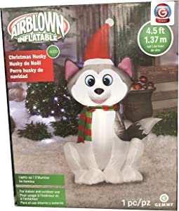Gemmy 4.5Ft. Inflatable Christmas Husky with Santa Hat Indoor/Oudoor Airblown Holiday Decoration