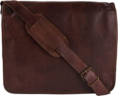 13 Inch Men s Hand-Crafted Messenger Genuine Leather Briefcase Satchel Laptop Shoulder Bag SMALL13