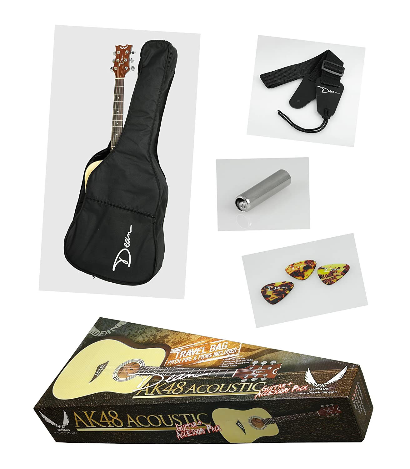 dean ak48 acoustic guitar pack with gig bag pitch