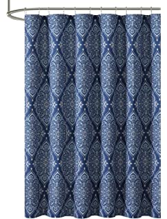 VCNY Home Navy Blue Gray Fabric Shower Curtain Floral Geometric Damask Design