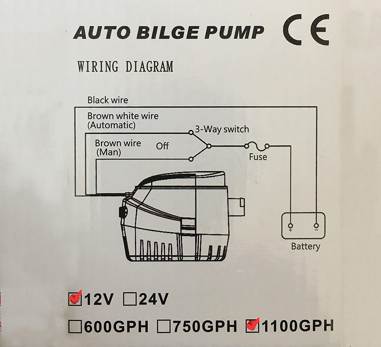 Automatic Submersible Bilge Boat Yacht Water Pump 12v Switch Wiring Diagram 1100 Gph Auto With Float By Sailflo Sports Outdoors