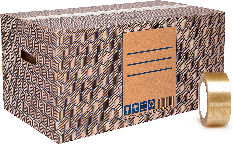 Pack 12 Cajas Carton Mudanza y Almacenaje Extra Grandes 600x300x275mm Ultra Resistentes con Asas + Cinta Adhesiva, 100% ECO Box | Packer PRO