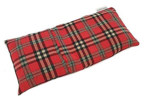 Saco térmico de semillas de trigo y lavanda con funda lavable 38 x 18cm (Escoces rojo)
