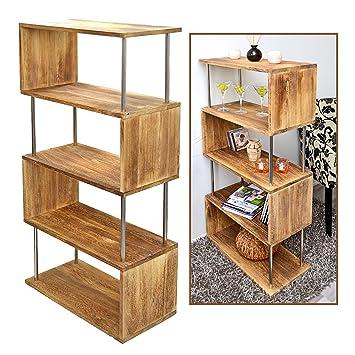 Ts Ideen Massivholz Regal Wandregal Bücherregal Regalwand Raumteiler In  Shabby Hellbraun Für Wohnzimmer, Büro