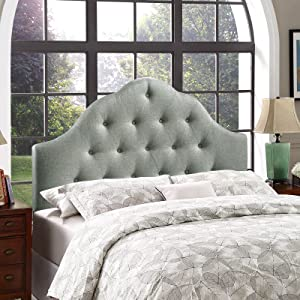 Modway Sovereign Tufted Button Linen Fabric Upholstered King Headboard in Gray