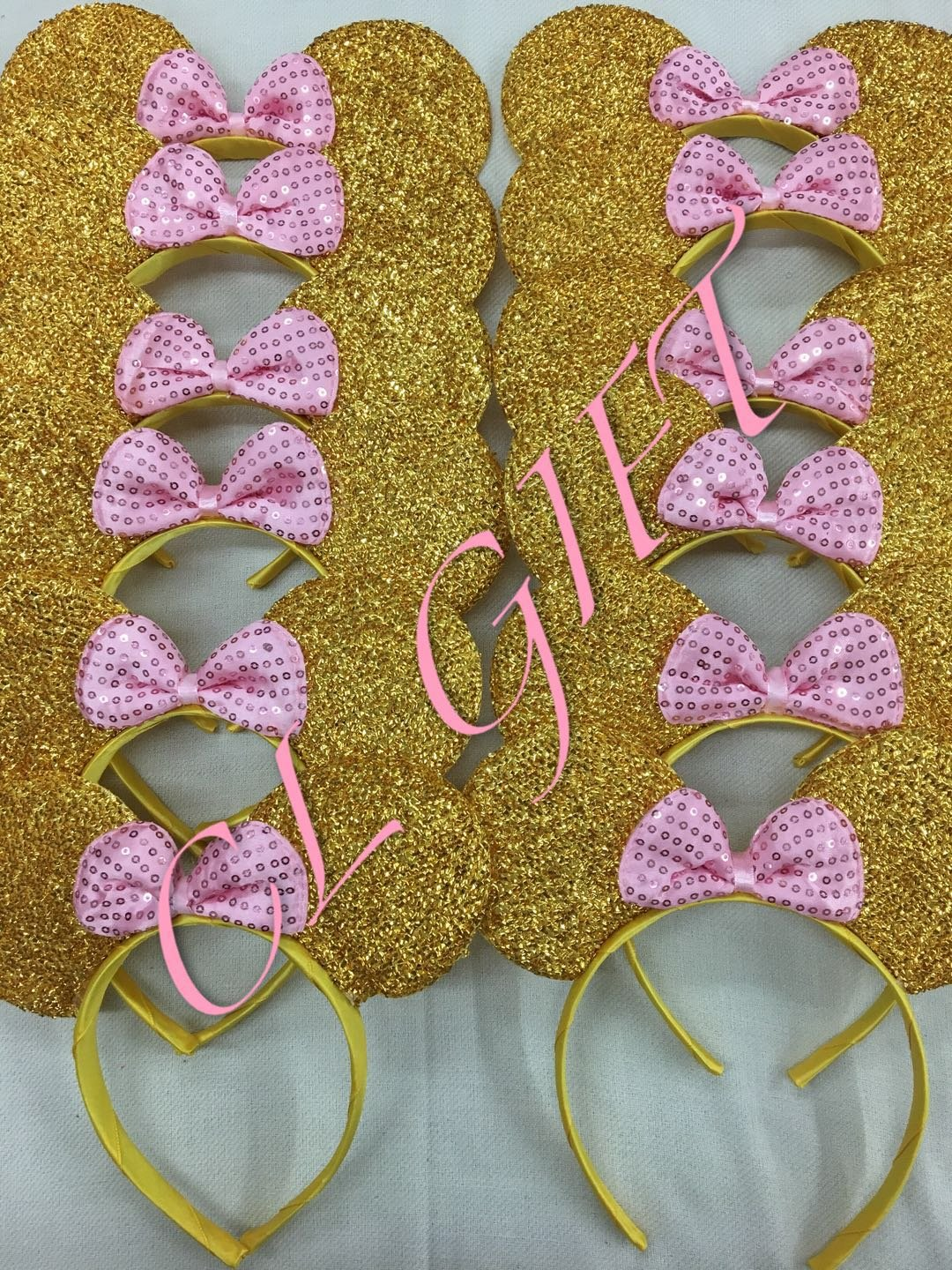 Set of 12 - CL GIFT Yellow Minnie Mouse Ears Baby Pink Sequin Bow - Gold Mickey Mouse Ears Disney Ears Minnie Mouse Bow Minnie Mouse
