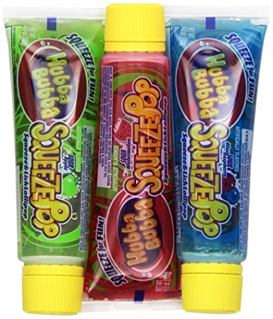 Hubba Bubba Squeeze Pop Assorted Sour Lollipops  Ounce Tubes Pack Of