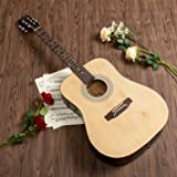 ARTALL 41 Inch Handmade Solid Wood Acoustic Dreadnought Guitar Beginner Kit with Tuner, Strings, Picks, Strap, Glossy Black