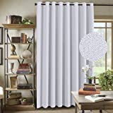 H.Versailtex Wide Width Room Darkening Rich Textured Linen Patio Door Curtains / Sliding Door Curtains, Home Fashion Window Panel Drapes -16 Grommets- Greyish White-100 x 84 inch Long