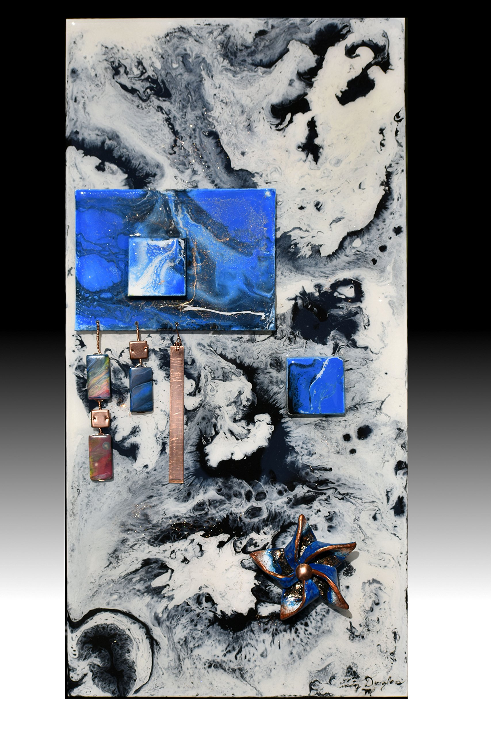 Primordial Soul Cream Black and Blue 06 Contemporary Abstract Mixed Media Acrylic Pour Painting Resin