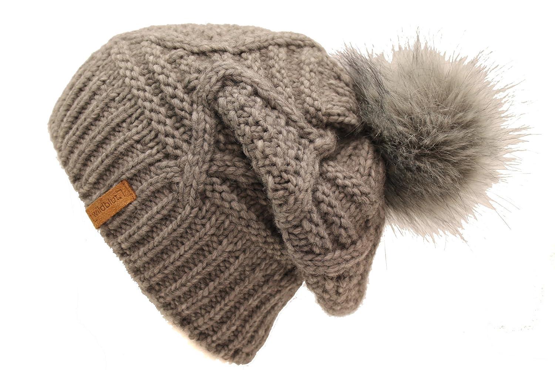 Modische Damenmütze aus Alpaka-Schurwolle-Mischung mit Innenfleece und Kunstfellbommel Made in Germany