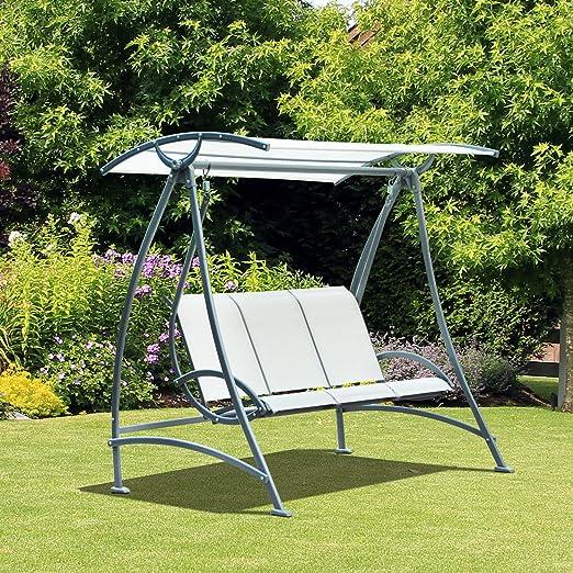 Outsunny – Balancín columpio para jardín o terraza de 3 plazas con parasol ajustable de textilene 1, 9 x 1, 26 x 1, 8 m color beis: Amazon.es: Jardín