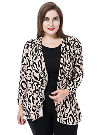 a61c7f6f5f1a Chicwe Women's Plus Size Leopard Printed Casual Blazer Jacket - Waterfall  Open Front Beige M