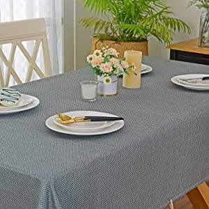 Rustic Faux Burlap Tablecloth 52x70 - Spring Garden Home Weights Rectangle Dust-Proof Table Cover Home Decor for Party Kitchen Living Room, Teal & Brown