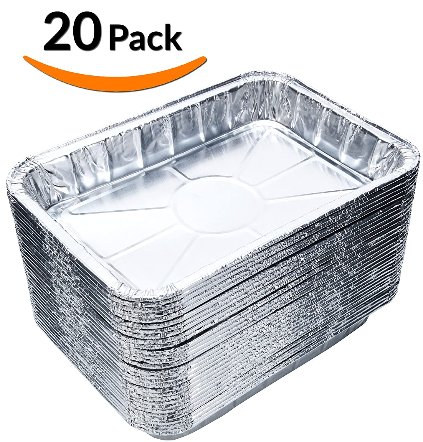 "DOBI (20-Pack) Toaster Oven Pans - Disposable Aluminum Foil Toaster Oven Pans, Standard Size - 8 1/2"" x 6"""