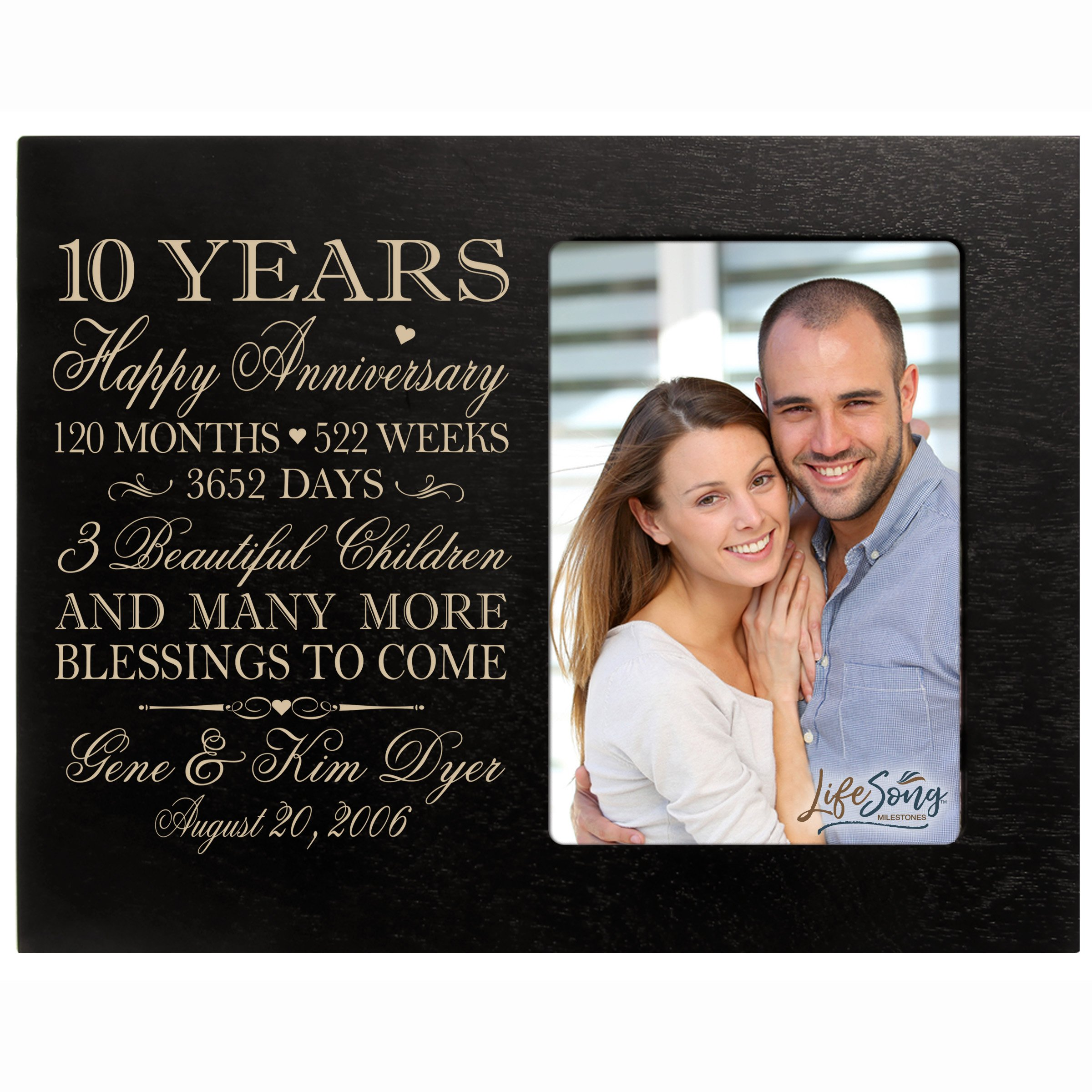 LifeSong Milestones Personalized Ten Year for her him Couple Custom Engraved Wedding Gift for Husband Wife Girlfriend Boyfriend Photo Frame Holds 4x6 Photo (Black) by LifeSong Milestones