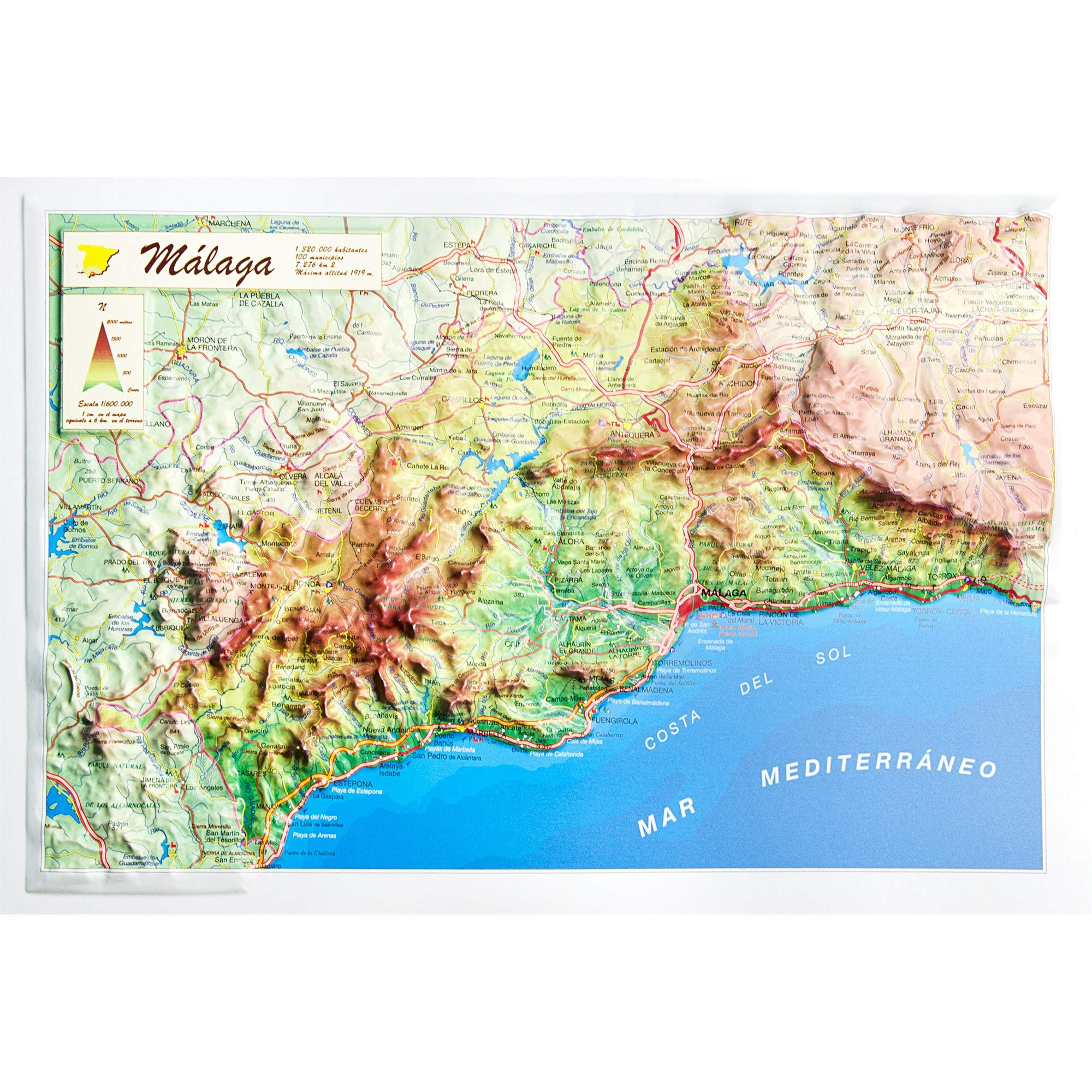 Mapa en relieve de Málaga: Escala 1:600.000: Amazon.es: All 3D ...