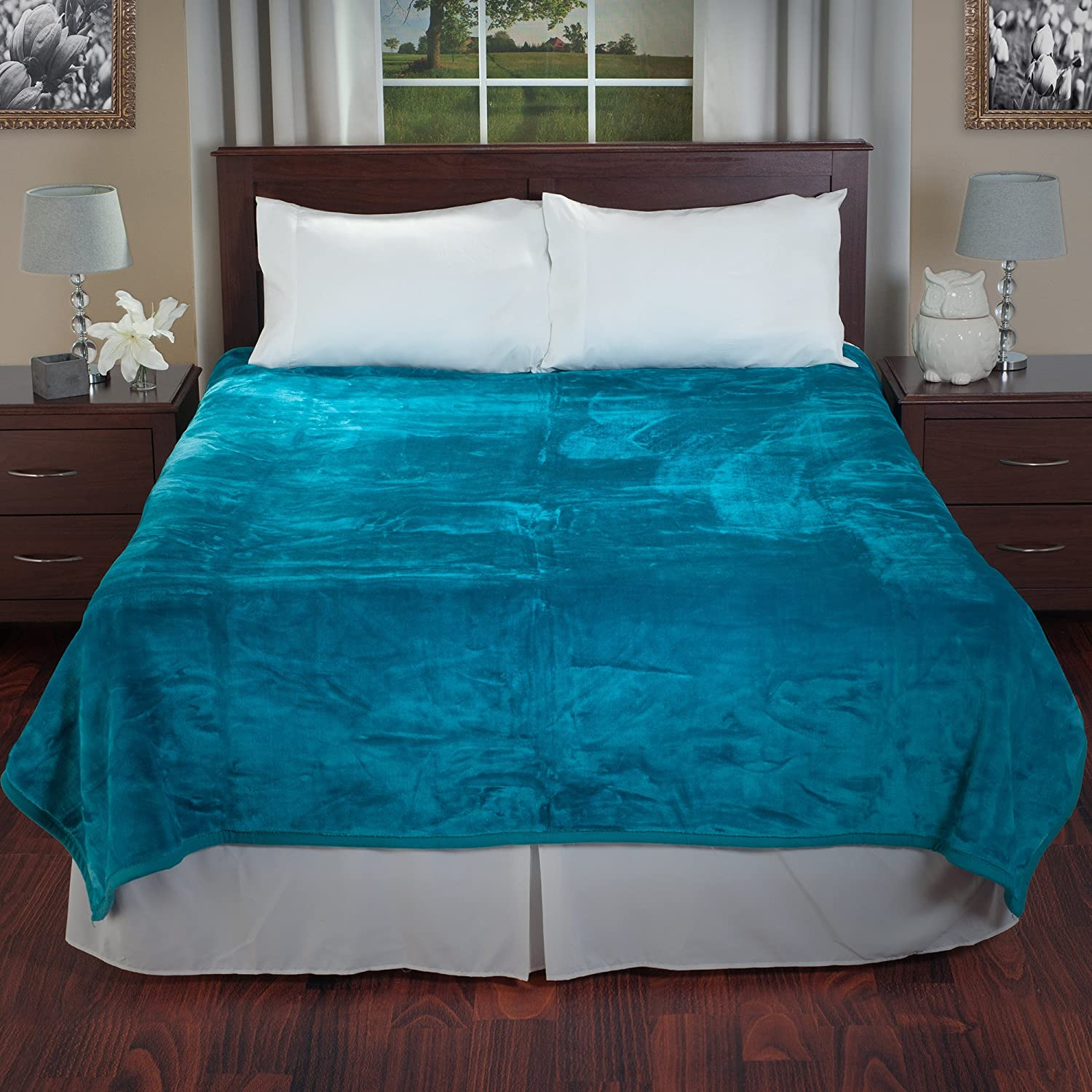 Lavish Home Solid Soft Heavy Thick Plush Mink Blanket 8 Pound - Aqua