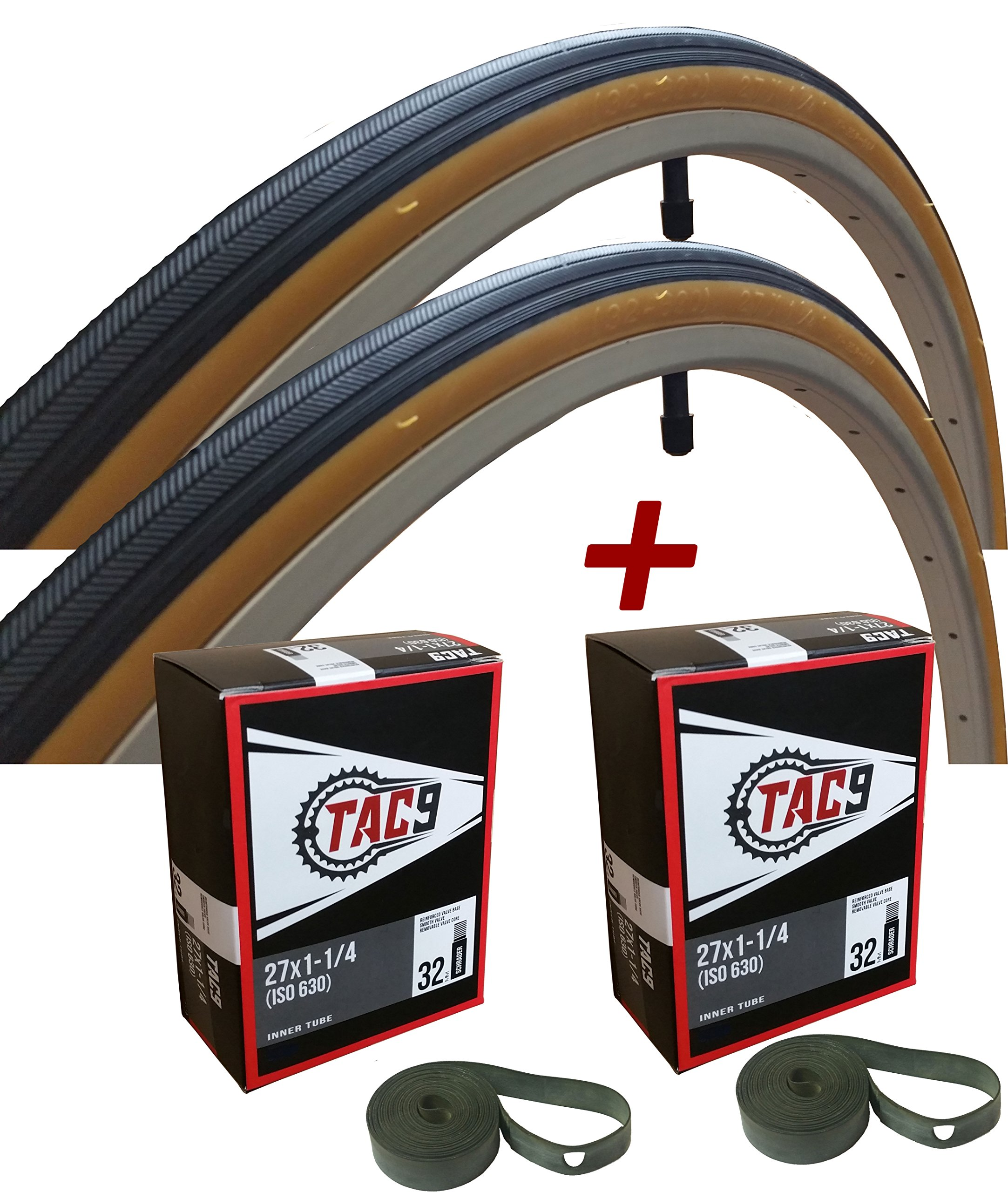 TAC 9 Two Pack - 27x1-1/4 Bike Tire, Bonus Tube and Rim Strip - Select Gum Wall or Black Wall