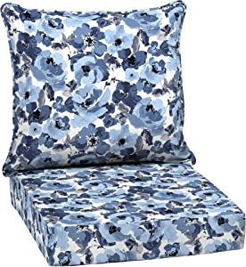 Garden Delight Outdoor Deep Seat Set White Floral Traditional Polyester Uv Resistant