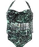 Creabygirls Womens Plus Size Print High Waist Two Piece Tassel Swimsuits