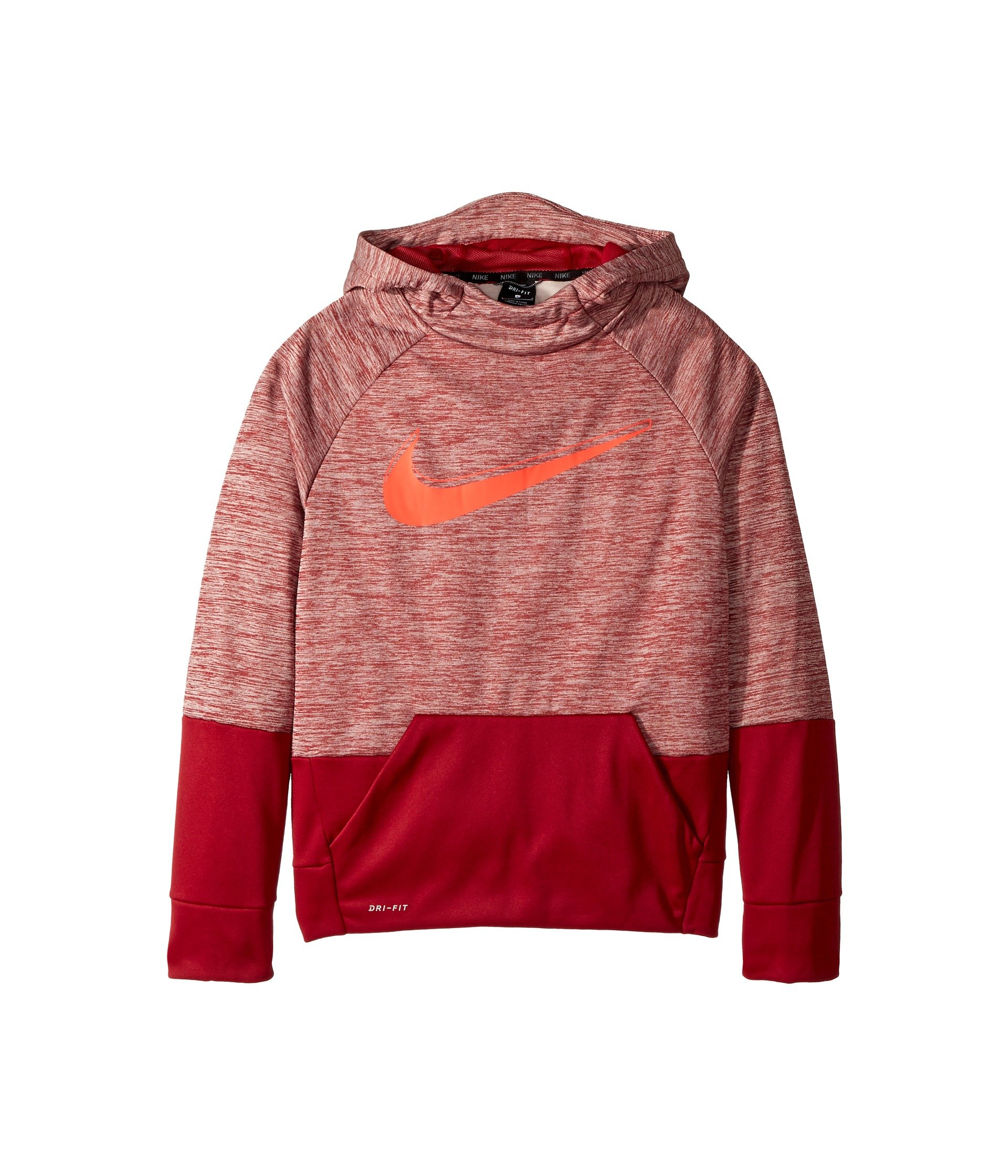 NIKE Boy's Therma Heathered Graphic Hoodie (Red, X-Large)