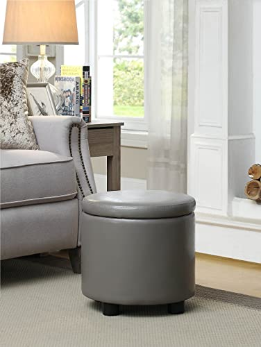 Convenience Concepts Designs4Comfort Round Accent Storage Ottoman, Gray