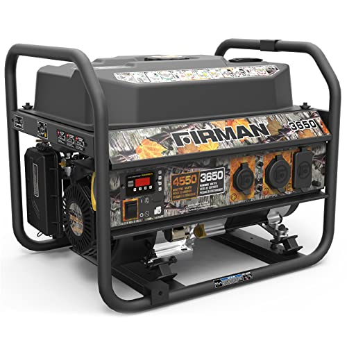 Firman P03609 4550 3650 Watt Recoil Start Gas Portable Generator cETL Certified with Camo Print, Black