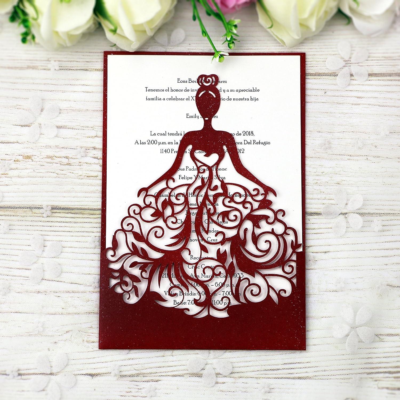 Amazon.com: PONATIA 25PCS Lacer Cut Wedding Invitations Card Hollow ...