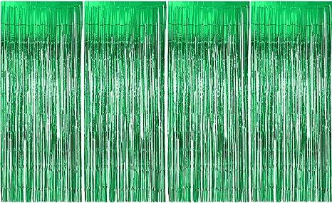 Party Prop Green Metallic Fringe Foil Garland photo back drop Curtain Birthday Wedding Anniversary Christmas Decoration