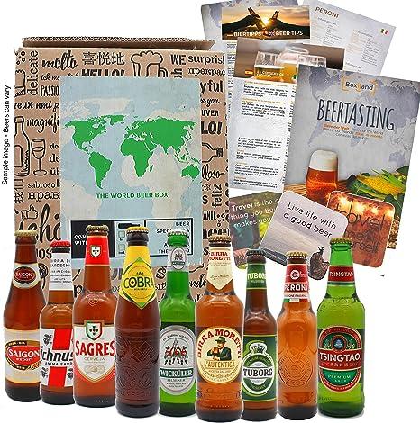 Regalo de cerveza como regalo de cumpleaños para hombres, idea de regalo inusual Cerveza gira mundial con 9 x 0.33l cervezas extraordinarias de todo el mundo: Amazon.es: Alimentación y bebidas