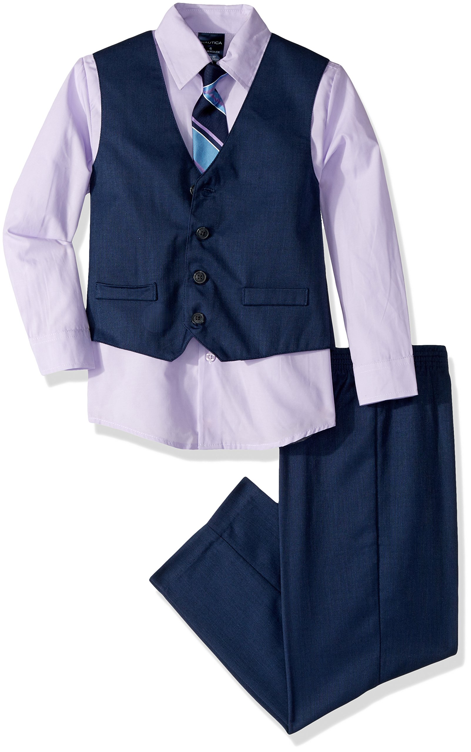 Nautica Dressy Vest Set, Dark Blue/Violet, 4T/4