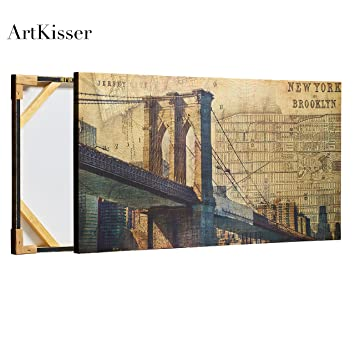 Amazon.com: ArtKisser Large Vintage New York Skyline Wall Art ...