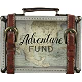 """Young's 8.5"""" x 2"""" x 6"""" Buckle Wooden Travel Savings Adventure Fund Suitcase Bank"""