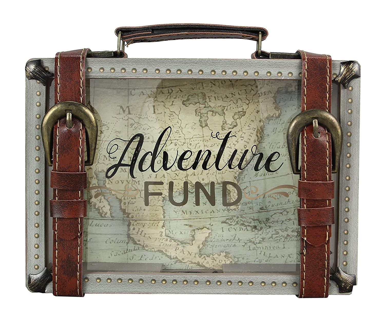 "Young's 8.5"" x 2"" x 6"" Buckle Wooden Travel Savings Adventure Fund Suitcase Bank,"