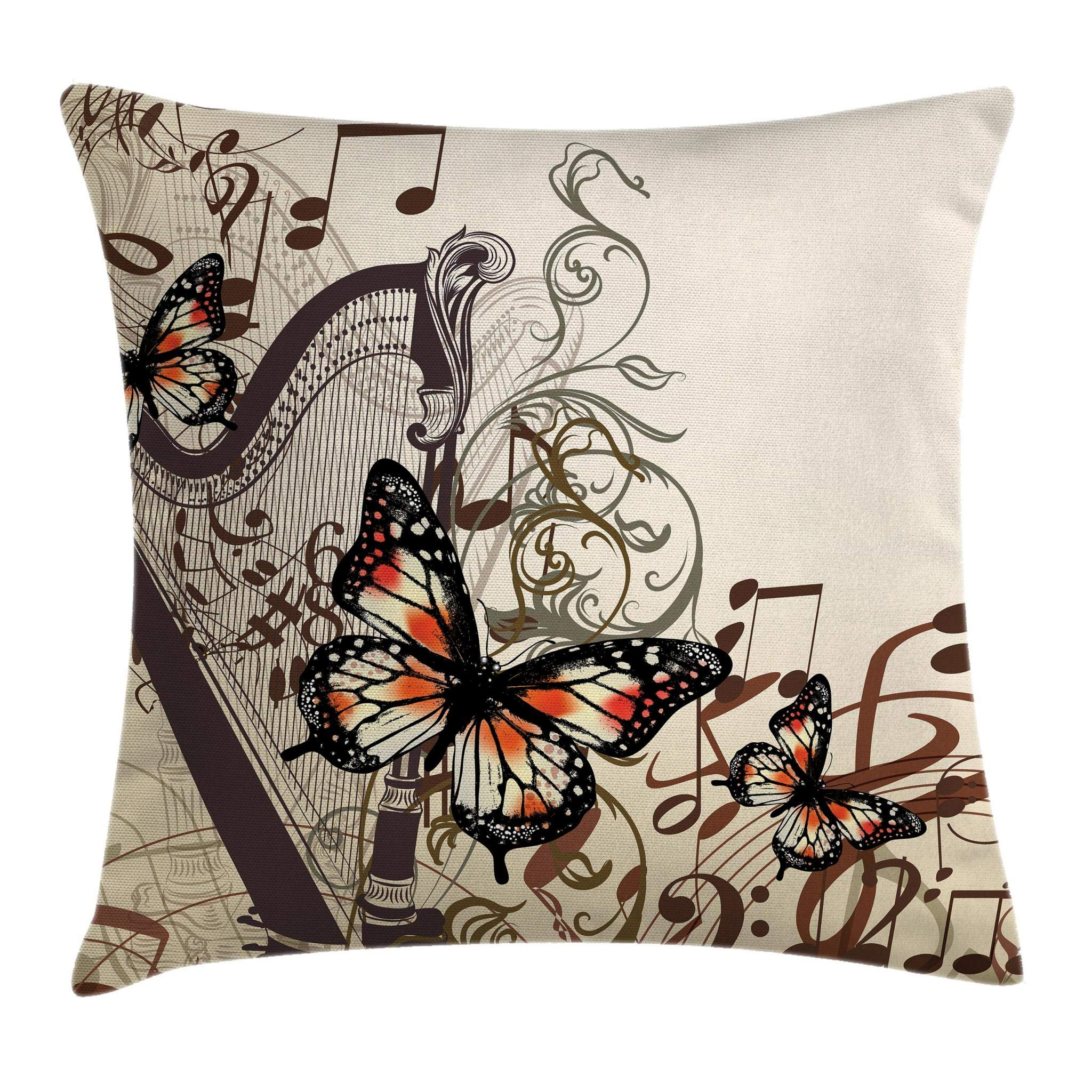 Ambesonne Butterflies Decoration Throw Pillow Cushion Cover, Harp Ornament and Butterflies Classic Musical Instrument Concert Theme, Decorative Square Accent Pillow Case, 16 X 16 Inches, Brown
