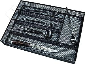 Kitchen Mesh Utensil Tray Drawer Organizer,10.6x14.5'' Metal Silverware Tray for Drawer,Cutlery Organizer, Flatware Holder,Office Storage Organizers,Knife Makeup Desk Drawer Dividers Insert