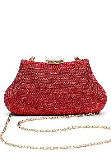 ab7452a8cb Women Clutch Purse Hard Case Shiny Evening Bag Glitter Handbag With Chain  Strap (red)
