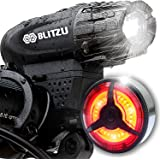 Blitzu Gator 320 PRO USB Rechargeable Bike Light Set POWERFUL Lumens Bicycle Headlight FREE TAIL LIGHT, LED Front and Back Rear Lights Easy To Install for Kids Men Women Road Cycling Safety Flashlight
