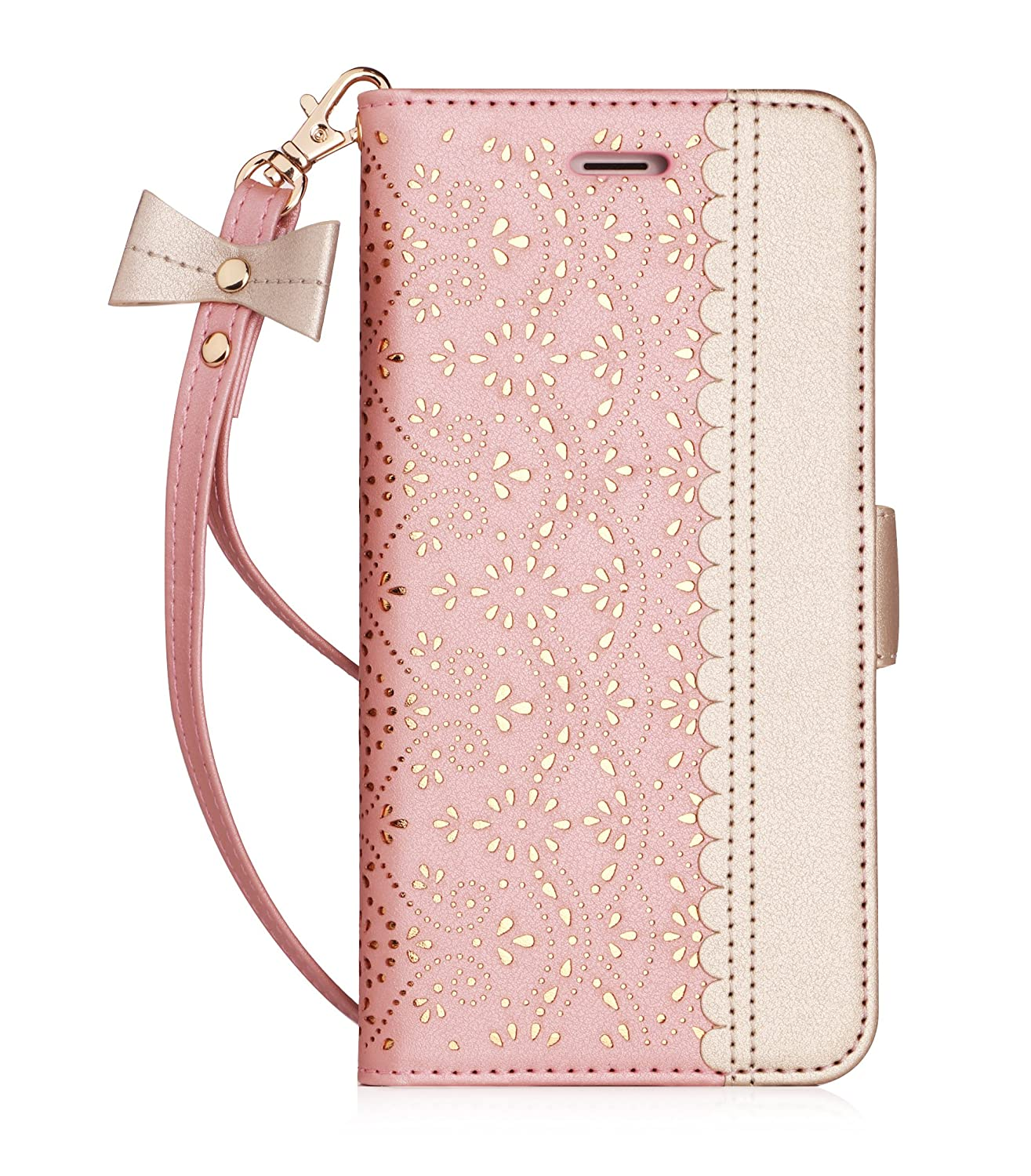WWW iPhone 6S Case, iPhone 6 Case, [Luxurious Romantic Carved Flower] Leather Wallet Case with [Inside Makeup Mirror] and [Kickstand Feature] for Apple iPhone 6/6S Rose Gold