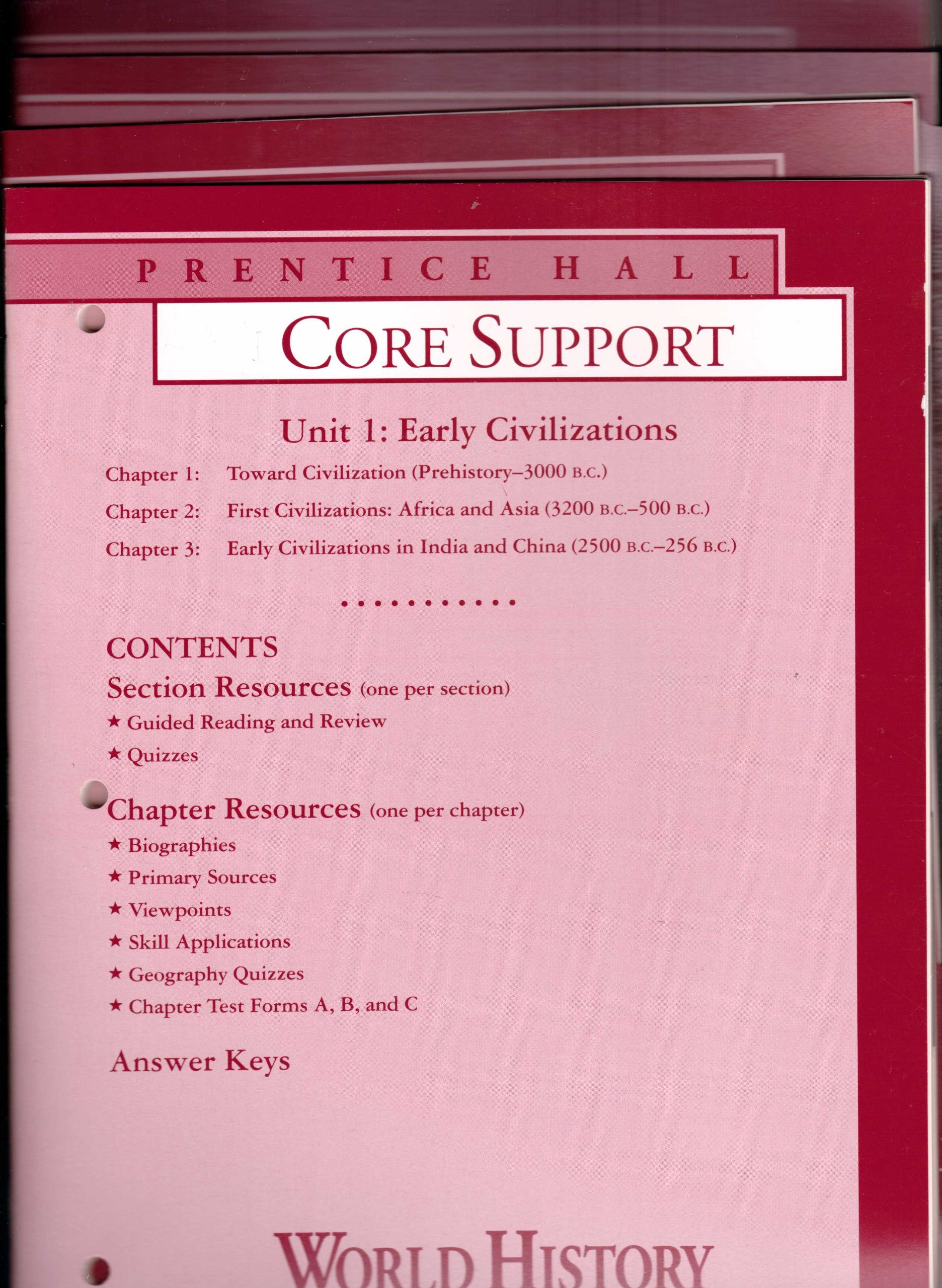Prentice Hall World History, Connections to Today, 4-Volume Set of Core  Support Books, Unit 1 to Unit 5 [Chapters 1 to 17] (Includes Section  QUIZZES, ...