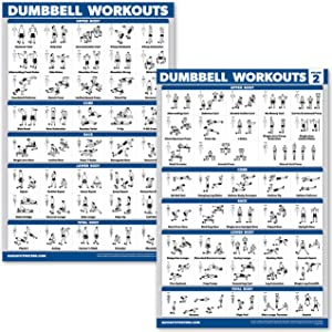 "QuickFit 2 Pack Dumbbell Workout Exercise Posters - Volume 1 & 2 - Free Weight Body Building Exercise Charts - 18"" x 27"" - Vol. 1 & 2"