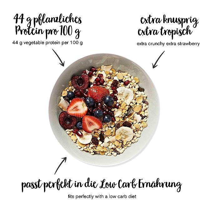 nu3 Muesli Low Carb sabor tropical | 575g de mezcla de avena y cereales | Desayuno vegano nutritivo bajo en carbohidratos | 13g de fibra y 44g de ...