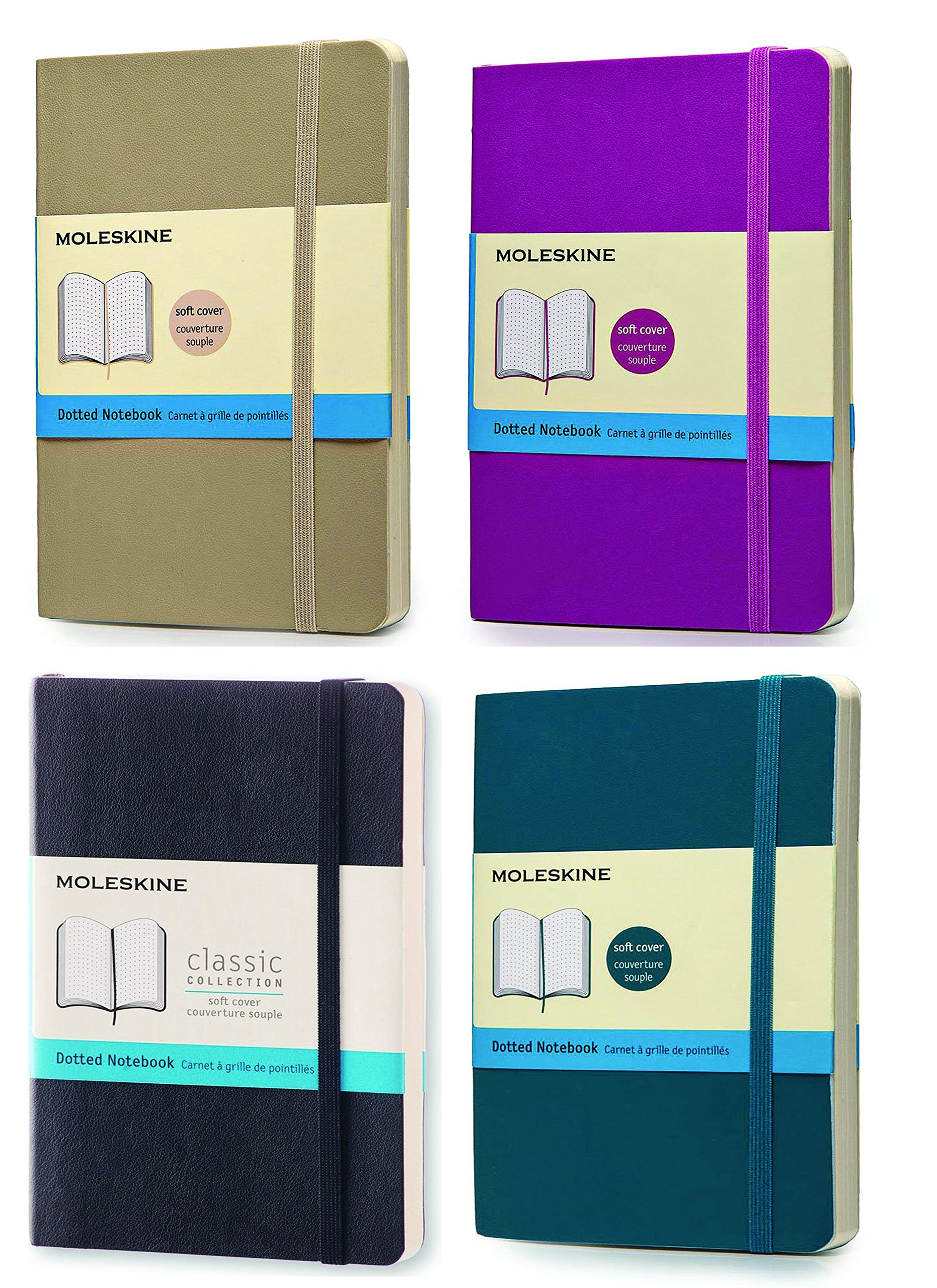 Pack of 4 Moleskine Classic Notebook, Pocket, Dotted , 1Underwater Blue,1 Orchid Purple,1 Khaki Beige, Black Soft Cover (3.5 x 5.5)