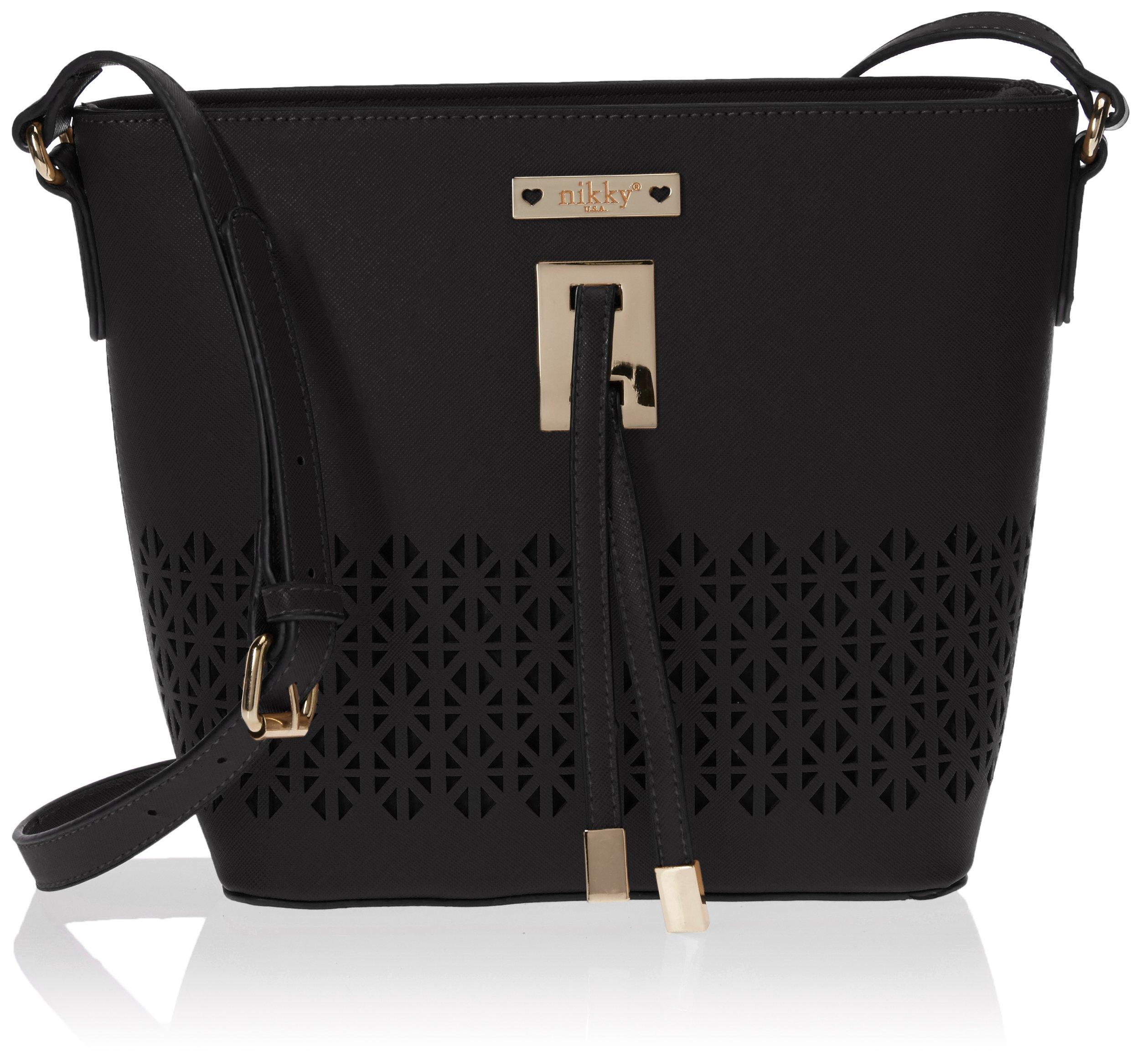 Nikky Women's Laser Cut Crossbody Cross Body Bag, Black, One Size