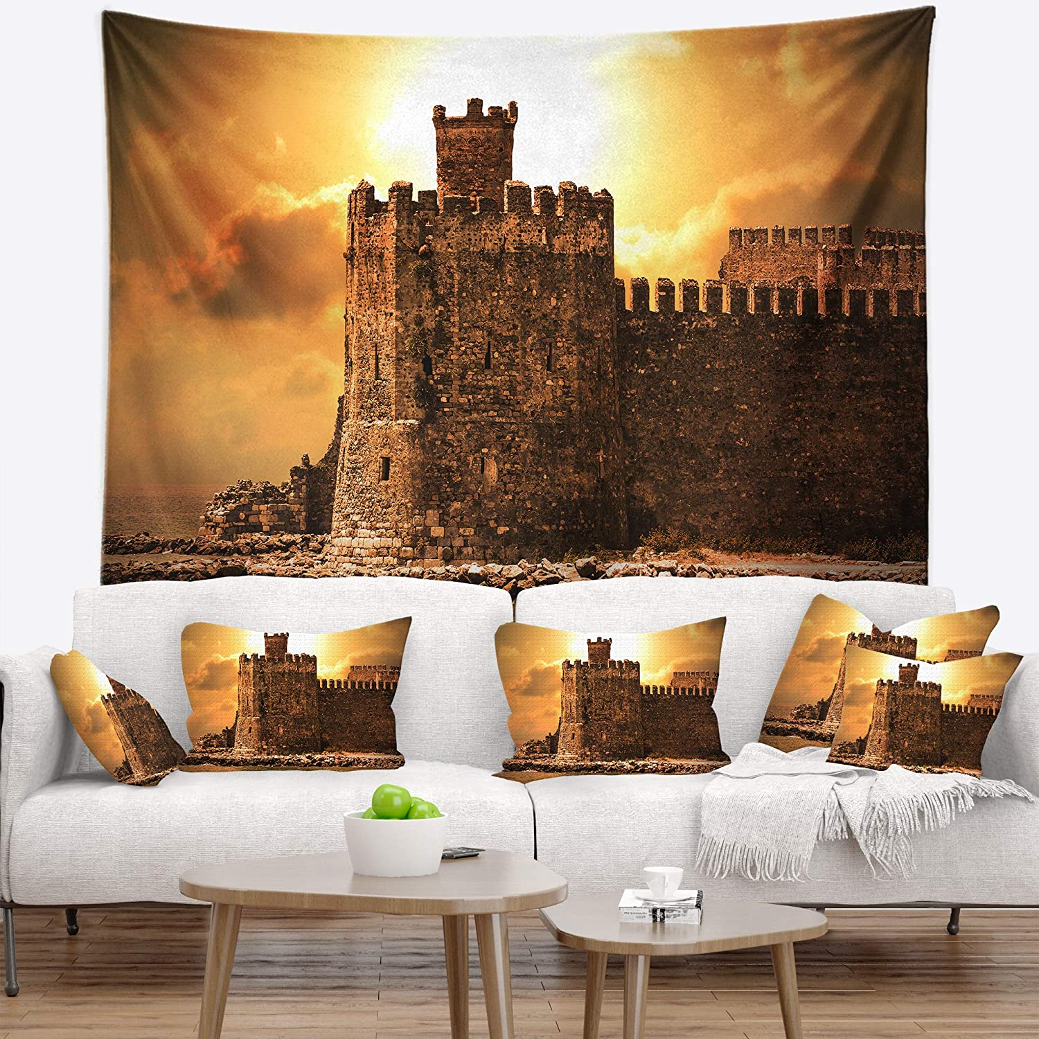 x 32 in Medium Designart TAP15193-39-32 Old Castle at Sunset Landscape Blanket D/écor Art for Home and Office Wall Tapestry 39 in