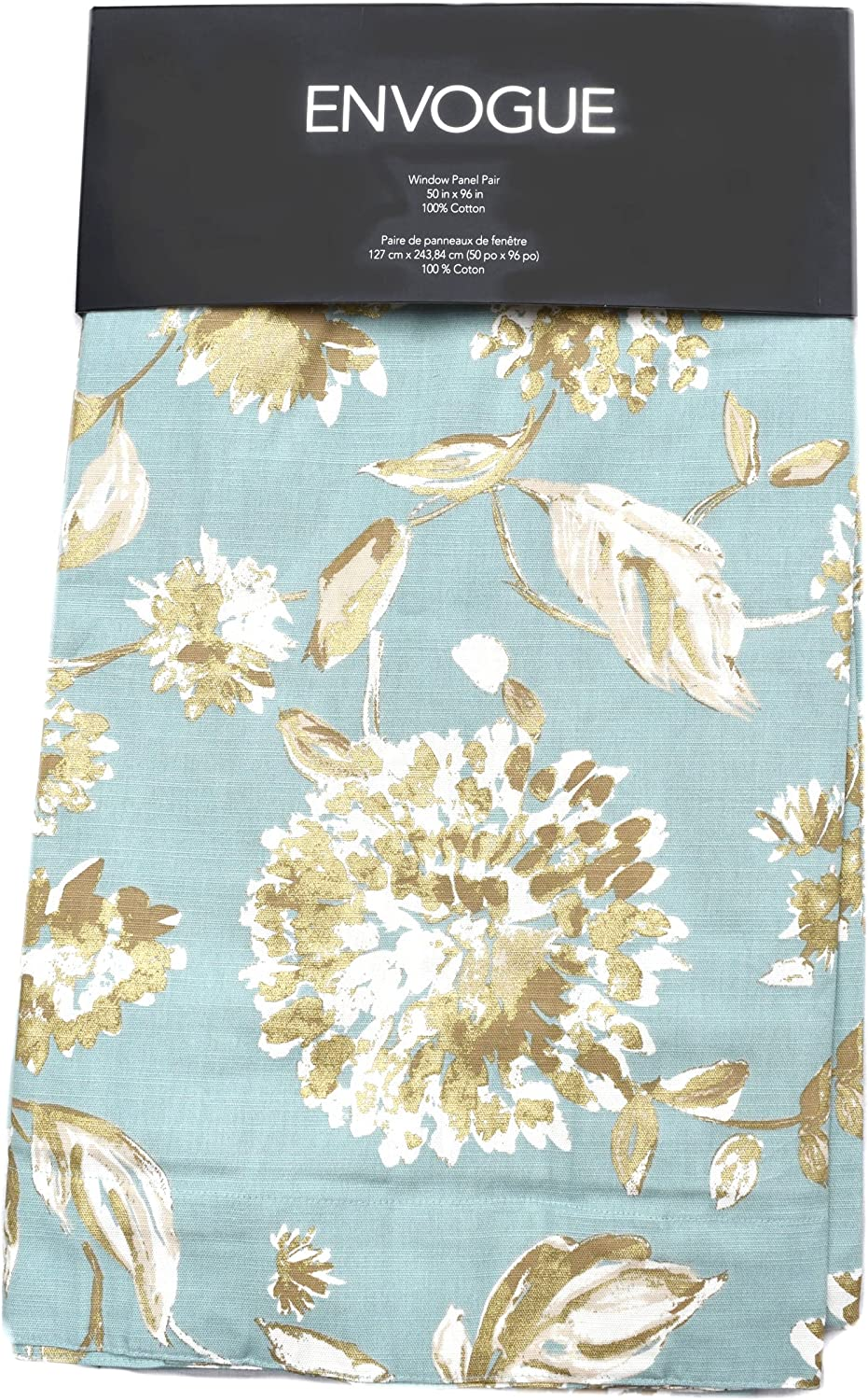 Tahari Home Envogue French Country Floral Print Window Curtain Panels Drapes Pair 50-by-96-inch Milena Flowers Teal Metallic Gold Tan