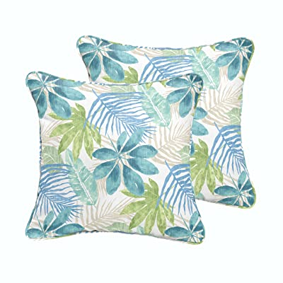 Mozaic AMPS115980 Indoor Outdoor Square Pillow with Corded Edges, Set of 2, 16 x 16, Tropical Blue & Green : Garden & Outdoor